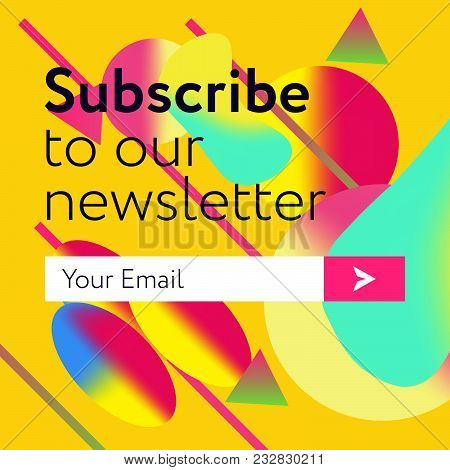 Subscribe to our news letter form. Liquid colors and form abstract background. Vector Illustration UI UX Design) with Text Box and Subscribe Button Template stock photo
