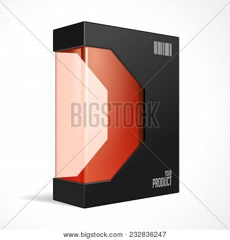 Black Modern Software Product Package Box With Red Window For DVD Or CD Disk. Mockup 3D Illustration On White Background Isolated. Ready For Your Design. Packing. Vector EPS10 stock photo