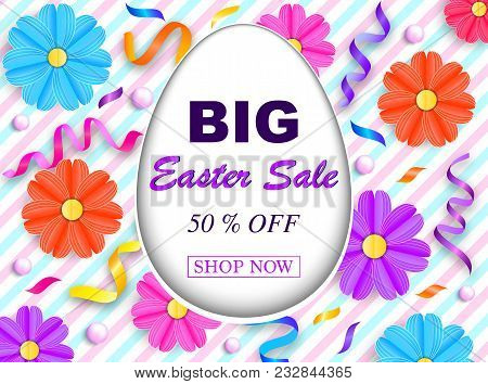 Easter sale banner with colorful flowers,streamers and beads on striped background. Vector illustration stock photo