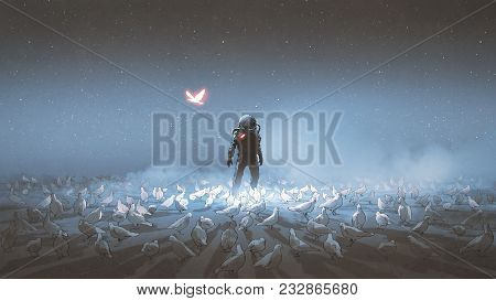 astronaut standing among flock of bird, single glowing unique bird flying around, digital art style, illustration painting stock photo