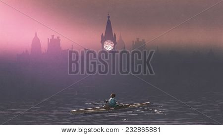 Boy rowing a boat in the sea and mist with ancient castles in background, digital art style, illustration painting stock photo
