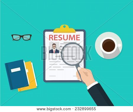 Man holding Resumes in hand. Concept of human resources management. Selecting staff and earching professional staff. Analyzing personnal resume. Flat design, vector illustration on green background stock photo
