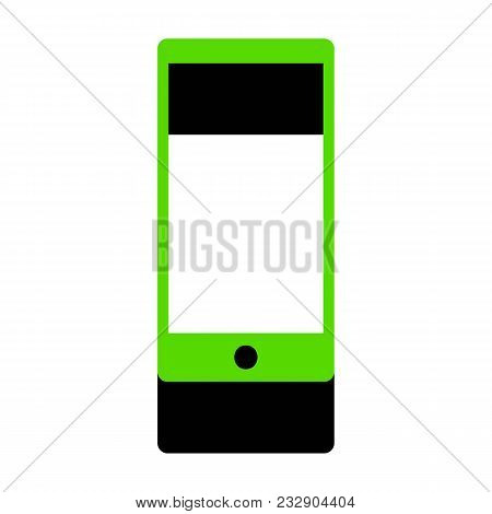 Abstract style modern gadget with blank screen. Template for any content. Vector. Green 3d icon with black side on white background. Isolated. stock photo