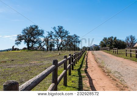 A wooden fence along a dirt road leading to a copse of trees at Ramona Grasslands Preserve in San Diego, California. stock photo