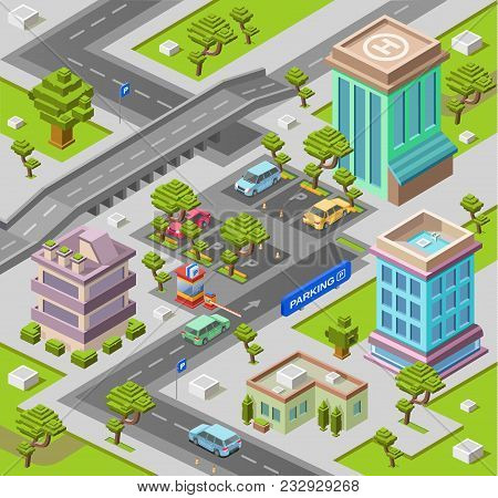 City map for parking lot isometric 3D vector illustration or map with office and residential building and car parking area. Isometric cars on outdoor parking lots street direction on road lane marking stock photo