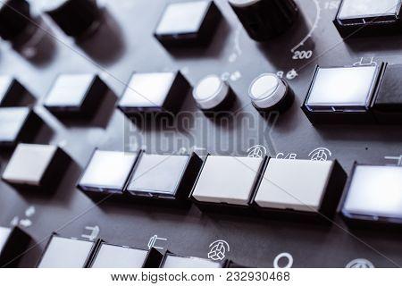 Numeric keypad CNC machine control panel. Shallow depth of field. stock photo