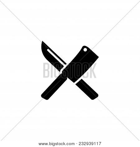 Crossed Chef knife. Butcher Tools. Flat Vector Icon. Simple black symbol on white background stock photo