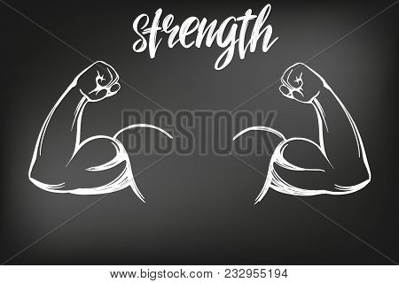 arm, bicep, strong hand icon cartoon calligraphic text symbol hand drawn vector illustration sketch, drawn in chalk on a black Board. stock photo