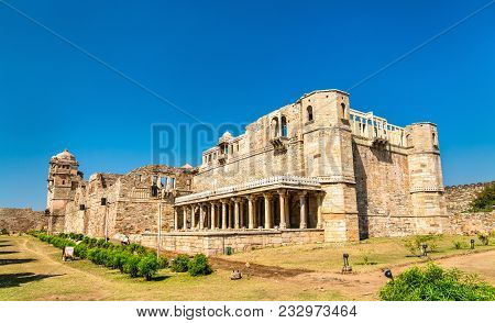 Rana Kumbha Palace, the oldest monument at Chittorgarh Fort - Rajastan State of India stock photo