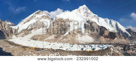 Evening panoramic view of Mount Everest base camp, Everest, Nuptse, Khumbu glacier, Sagarmatha national park, Nepalese himalayas mountains, top of the wotld stock photo