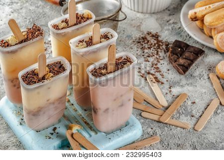 Tiramisu popsicles ice cream. Gelato pops with italian savoiardi cookies, mascarpone, milk chocolate, with tiramisu ingredients on grey stone kitchen table. stock photo