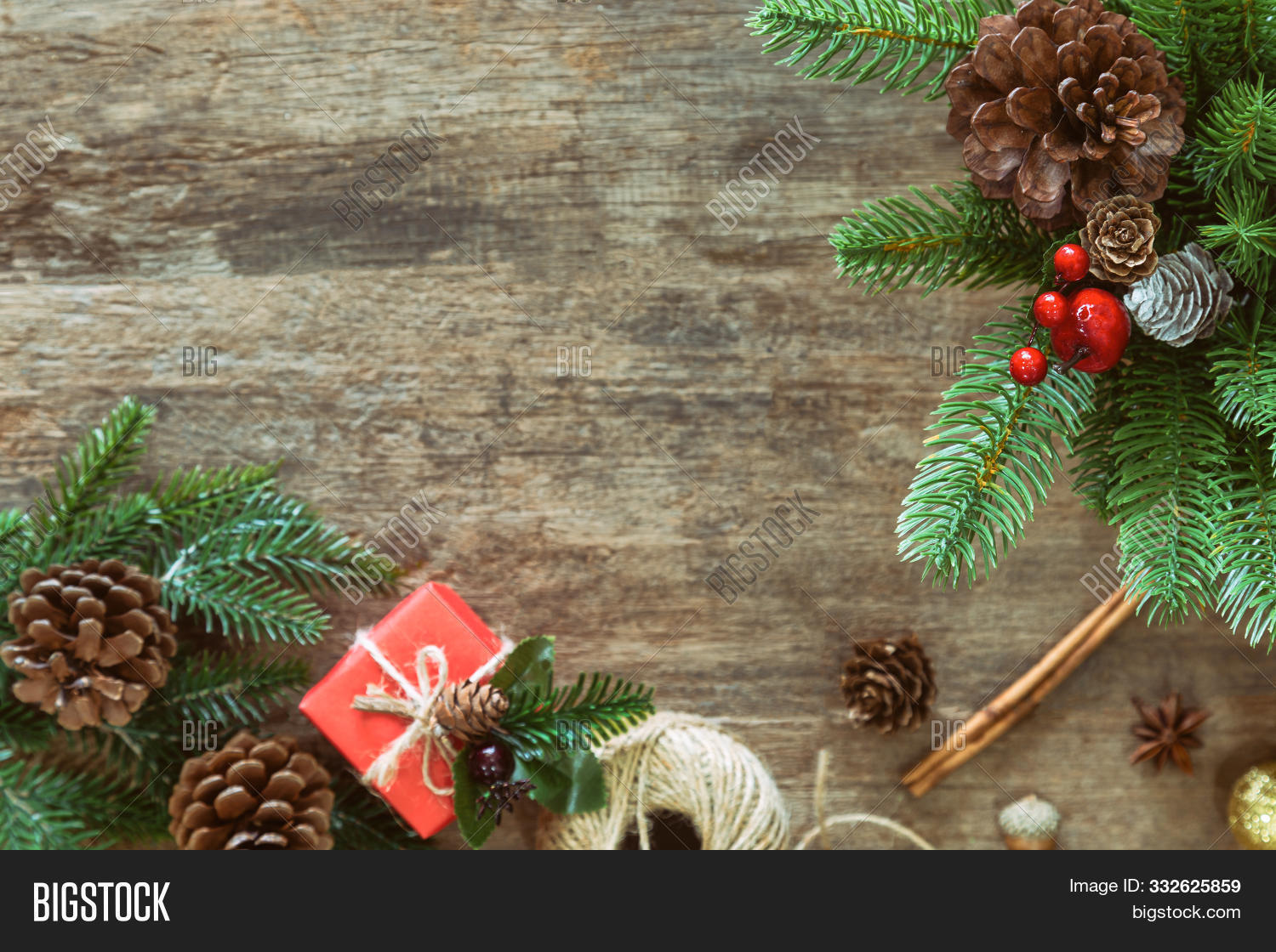 Holiday Christmas wood wallpaper with gift box. Christmas card in top view flat lay with festive decoration. Sweet greeting card christmas , christmas ornaments background with copy space, christmas artwork design about Christmas festival background.