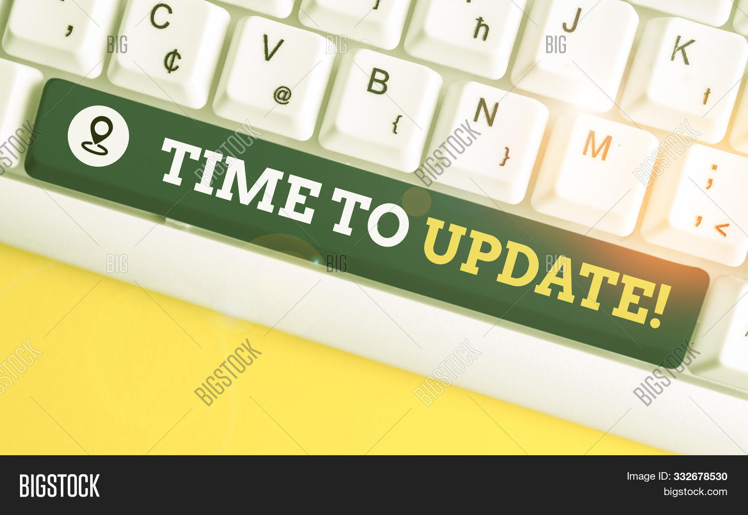 Writing note showing Time To Update. Business photo showcasing act updating something someone or updated version program White pc keyboard with note paper above the white background.