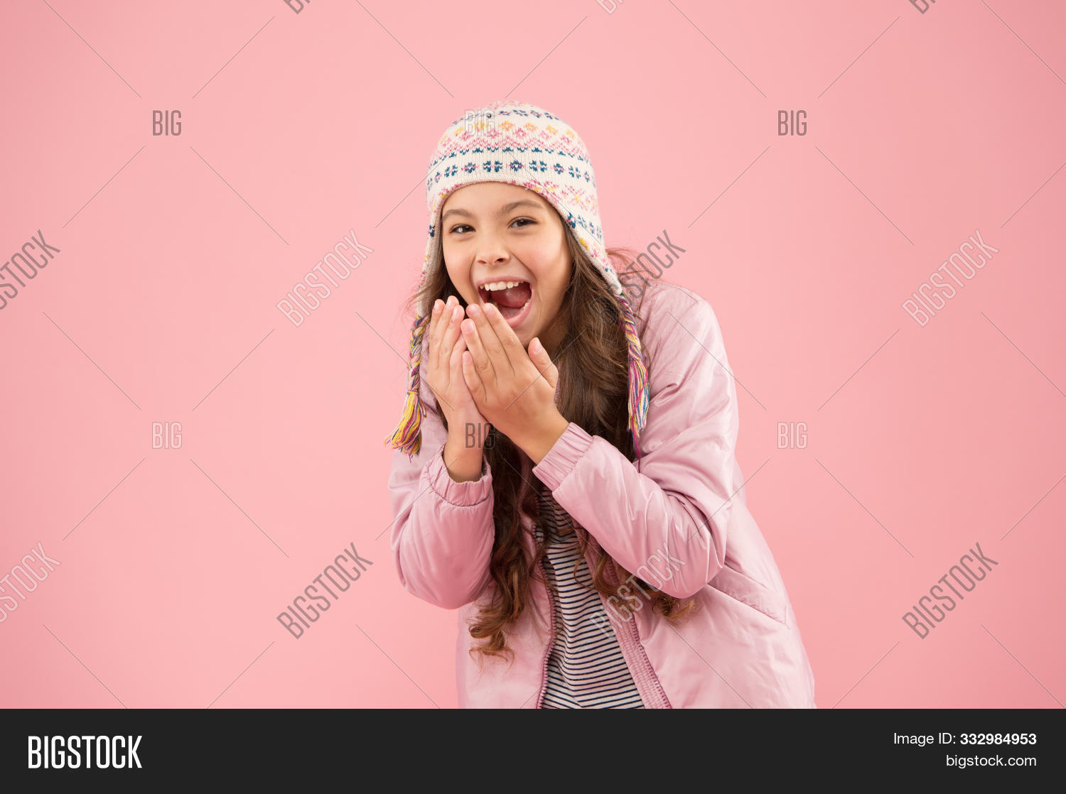 Winter Outfit. Shopping For Accessories. Cute Smiling Model. Adorable Small Child Wear Winter Knitte