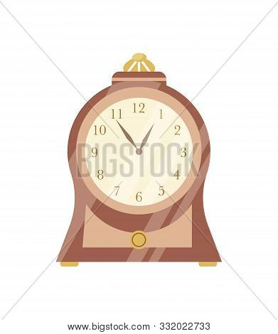 Vintage clock flat vector illustration. Elegant retro wooden timepiece with round clockface. Antique style interior design element. Old fashioned grandfather clock, time measuring mechanism. stock photo