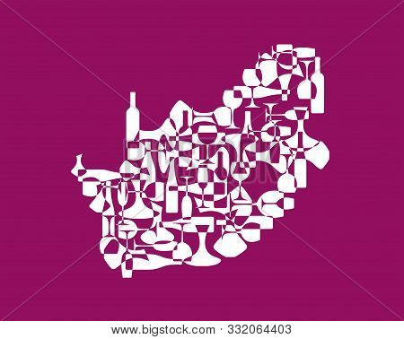 Countries winemakers - stylized maps from silhouettes of wine bottles, glasses and decanters. Map of South Africa. stock photo