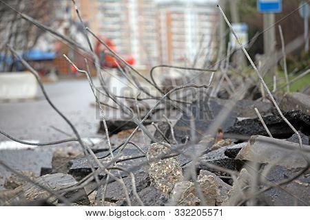 city broken asphalt road background day light stock photo