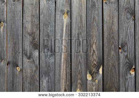 Wooden wall texture of an old barn from faded and weathered gray pine boards with a knotted surface, abstract background. stock photo