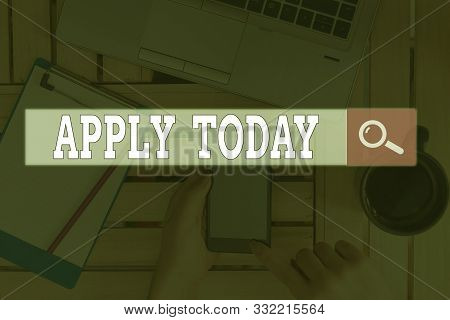 Text sign showing Apply Today. Conceptual photo to request something mainly in writing or by sending in a form. stock photo