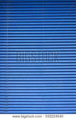 Blue Slats Aluminium Blinds Window Background Lines stock photo