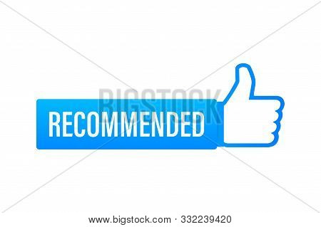 Recommend icon. White label recommended on blue background. Vector stock illustration. stock photo