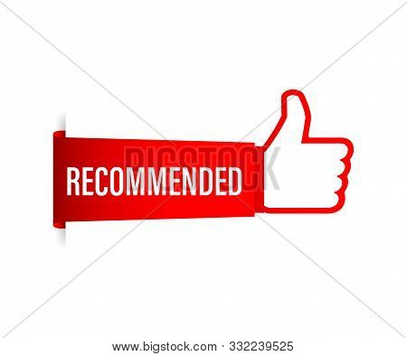 Recommend icon. White label recommended on red background. Vector stock illustration. stock photo