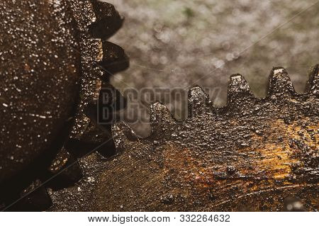 Gears of industrial machine. detail of mechanism. old cogwheels. mechanical parts of machinery stock photo