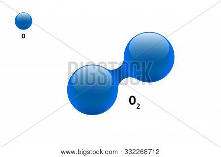 Chemistry model molecule diatomic oxygen O2 scientific element formula. Integrated particles natural inorganic 3d dioxygen gas molecular structure consisting. Two volume atom vector spheres stock photo