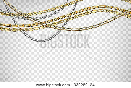 Stylish accessory, jewelry realistic vector illustration. Golden shiny chains on transparent background. Luxury bracelets, belts isolated design elements. Precious metal pendant, necklace stock photo