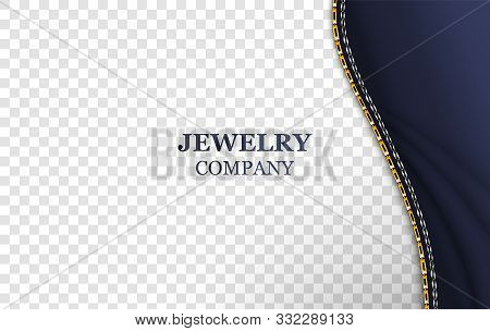 Jewelry banner realistic vector template. Golden shiny chain and textile blue cloth on transparent background. Luxury accessory store. Silver bracelet, belt illustration with typography stock photo