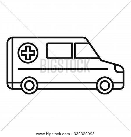 Hospital ambulance icon. Outline hospital ambulance vector icon for web design isolated on white background stock photo