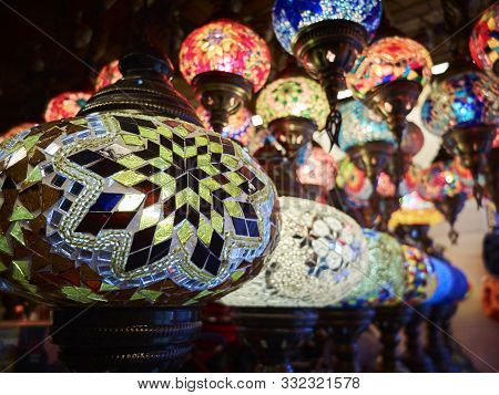 Traditional arabic style multi colored hanging lanterns stock photo