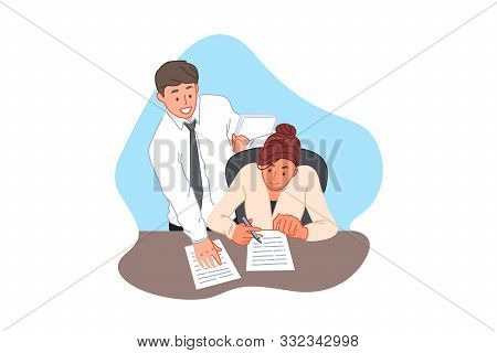 Contract signing, agreement, office paperwork, business and finance concept. Businessman bringing documents for signature, executive signing paper, business woman and office clerk. Simple flat vector stock photo