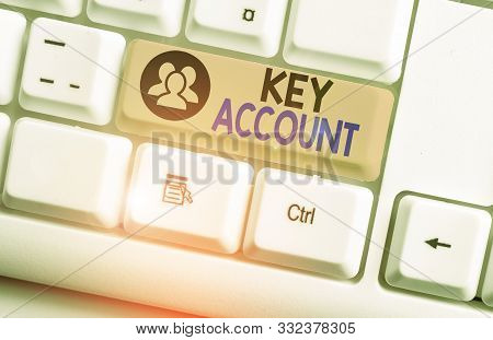 Text sign showing Key Account. Conceptual photo individual approach of sales showing to their customers White pc keyboard with empty note paper above white background key copy space. stock photo