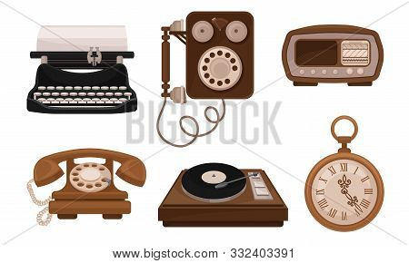 Set Of Retro Vintage Household Appliances And Mechanismes Vector Illusration stock photo
