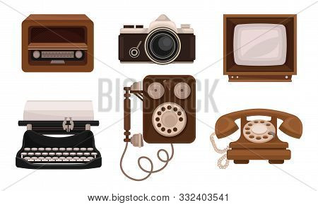 Retro Vintage Household Appliances And Mechanismes Flat Vector Illusration Set stock photo