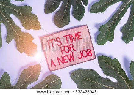 Writing note showing It S Time For A New Job. Business photo showcasing Career changes seeking other work Recruitment Leaves surrounding notepaper above empty soft pastel table. stock photo