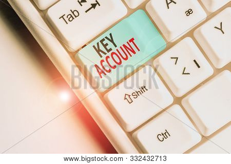 Writing note showing Key Account. Business photo showcasing individual approach of sales showing to their customers White pc keyboard with note paper above the white background. stock photo