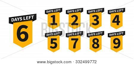 Countdown Banners Or Badges. One, Two, Three, Four, Five, Six, Seven, Eight, Nine Of Days Left To Go