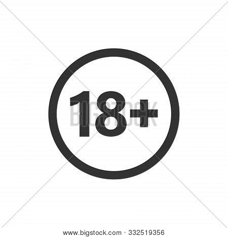 18 plus icon in flat style. Adult only vector illustration on white isolated background. Forbidden child business concept. stock photo