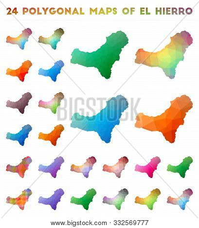 Set of vector polygonal maps of El Hierro. Bright gradient map of island in low poly style. Multicolored El Hierro map in geometric style for your infographics. stock photo