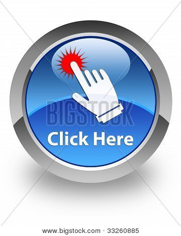 Click here icon on glossy blue round button stock photo