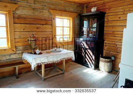 Old Farmhouse Kitchen Interior In Old Country House, Fireplace & Vintage Table. Ancient Kitchen. Liv