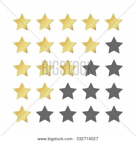 Five gold stars rating. 5 star image realistic leadership symbol. Glossy yellow winner champion rating. Vector illustration restaurant success concept or quality rated icon stock photo