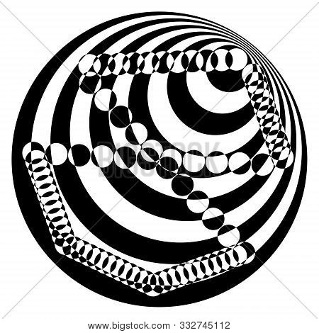 Abstract black and white striped round object. Geometric pattern with visual distortion effect. Optical illusion. Op art. Isolated on white background. stock photo