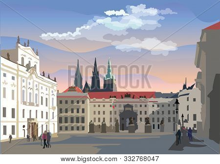 Colorful vector Illustration of Hradcany square. The Central gate of the Hradcany Castle. Landmark of Prague, Czech Republic. Vector colorful Illustration of landmark of Prague. stock photo