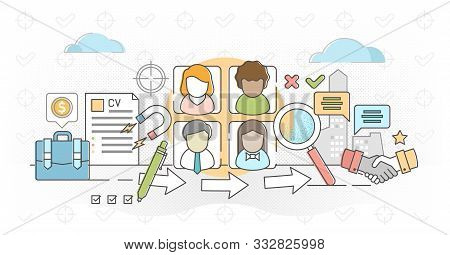 Job agency outline concept vector illustration. Flat employee headhunters persons. Professional work search recruitment industry occupation for human resources. CV application criteria review process. stock photo