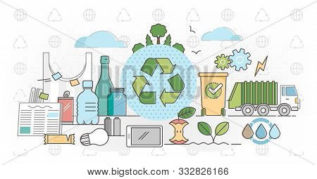 Recycle Outline Concept Flat Vector Illustration.products Packaging Cycle - Reuse Plastic, Paper And