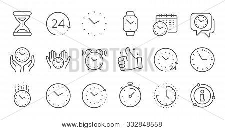 Time And Clock Line Icons. Timer, Alarm And Smartwatch. Time Management, 24 Hour Clock, Deadline Ala