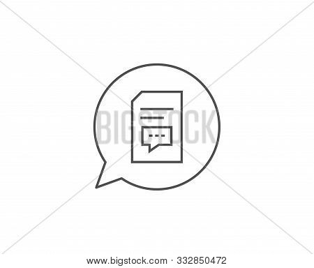Document with Comments line icon. Chat bubble design. Information File with Speech bubble sign. Paper page concept symbol. Outline concept. Thin line comments icon. Vector stock photo